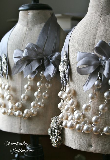 ? pearls and ribbons for bridesmaid