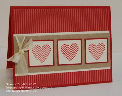 handmade Valentine card ... clean and simple look ... three layered inchies with hearts ... Stampin' Up!