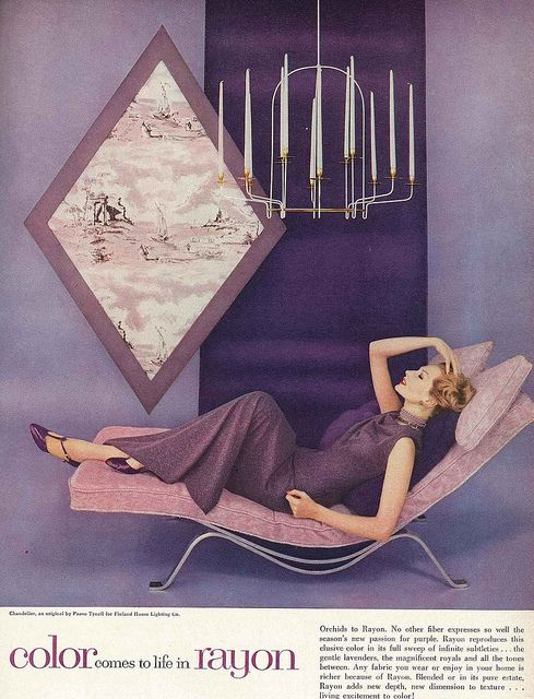 Reclining in a sea of violet. #vintage #fashion #1950s #purple