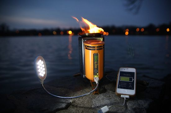 BioLite    Is it a portable stove or a gadget charger? How about both. The BioLite ($130) is a compact, portable stove that burns sticks, twigs, pine cones, and other renewable resources instead of petroleum gas, lighting quickly and bringing water to a boil in no time. In addition, it packs a USB port on the front that draws its power from the heat of the fire, letting you charge your phone, GPS, or LED lights miles from the nearest outlet.