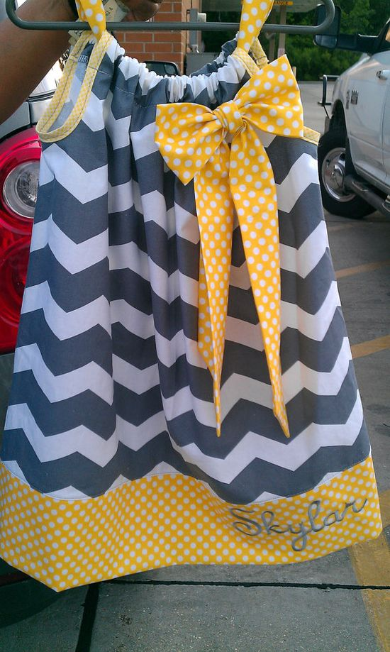 Girls Pillowcase Dress, Chevron, polka dot, gray, yellow via Etsy
