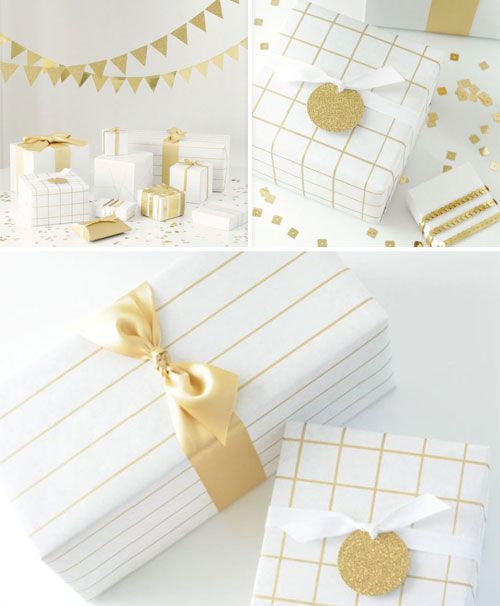 Fun and EASY! Plain gift paper and draw lines with metallic pen. #holidayentertaining