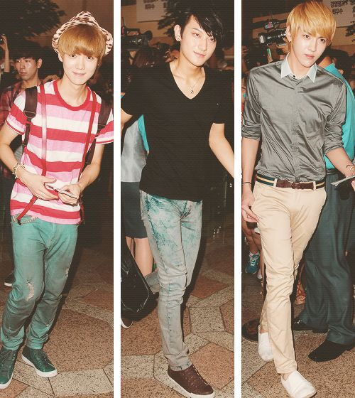 Luhan,Tao, and Kris of EXO   Airport Fashion