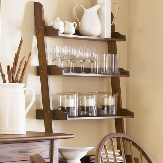 Farmhouse 5-tier Ladder bookcase. This is just perfect for a kitchen/dining area or I would put it in a bathroom and stack extra towels and linens, candles & decor on it.