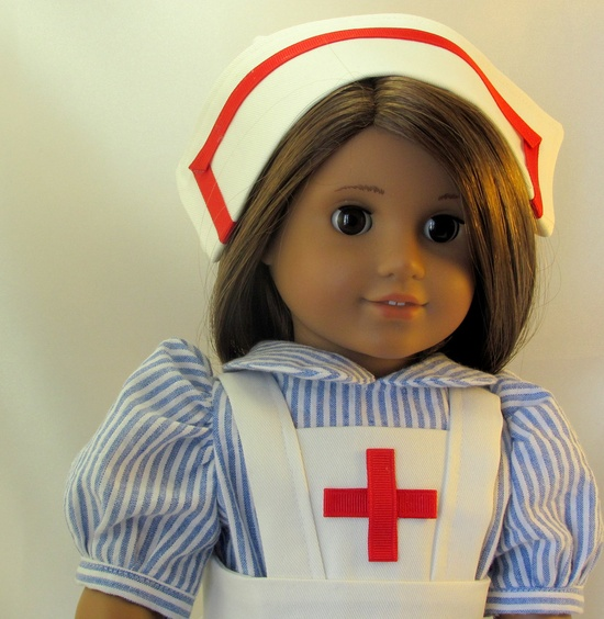 Old Fashioned Nursing outfit for 18 inch Doll with tights and shoes