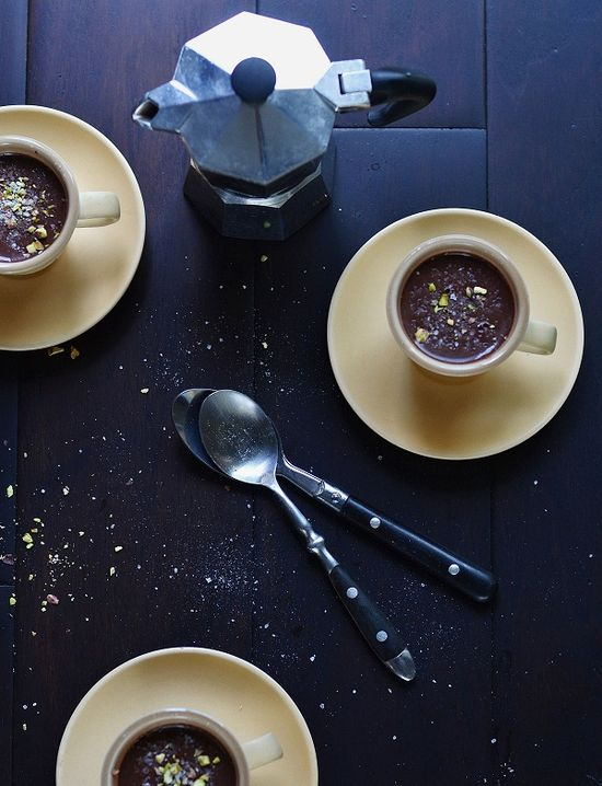 chocolate and bourbon pudding with sea salt and crushed pistachio.