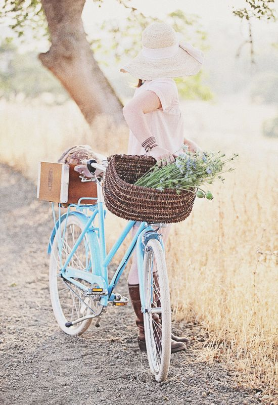 Our favorite type of day includes turquoise bikes and sun hats.
