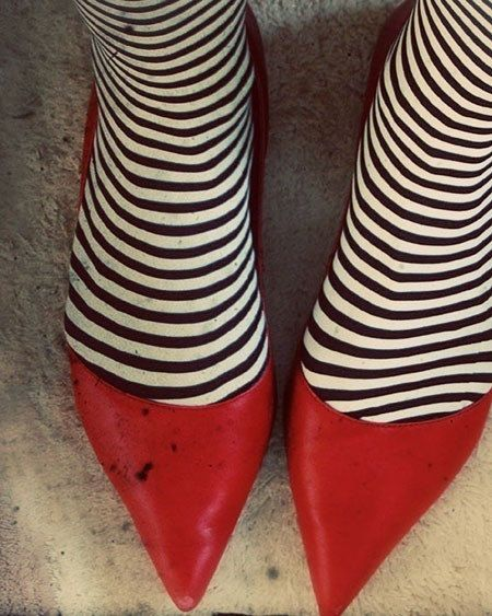 red shoes and stripes
