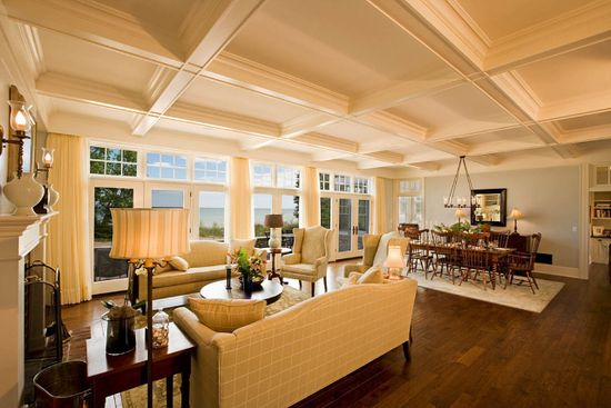Stunning Beach Home Design : Exciting Beach House Interior Decor Open Living Dining Room