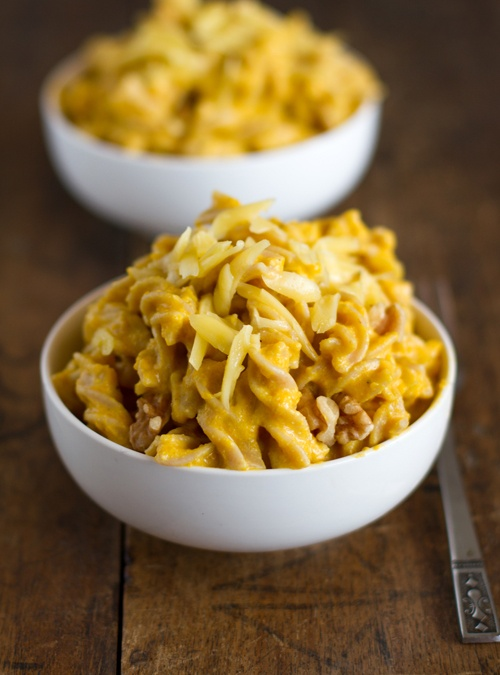 white cheddar mac & cheese with squash and toasted walnuts