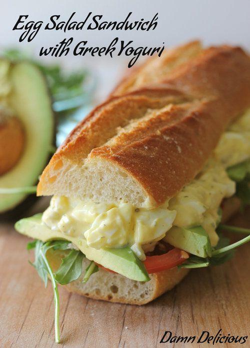 Egg Salad Sandwich with Greek Yogurt - #healthy #eggsalad #lunch #yum #sandwich #damndelicious