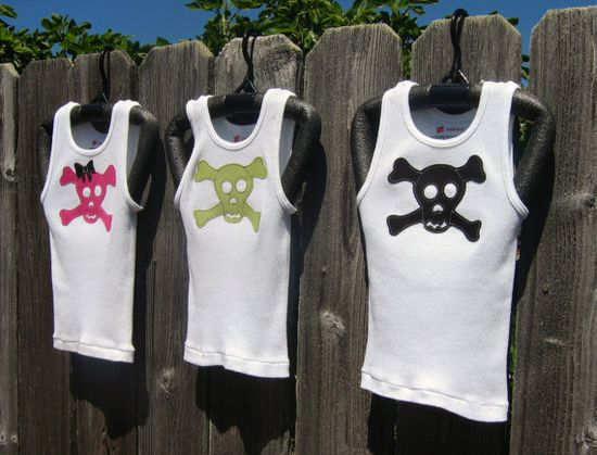 Pirate Tank with Pink Lime Green or Black by MEandREEKIE on Etsy, $9.50