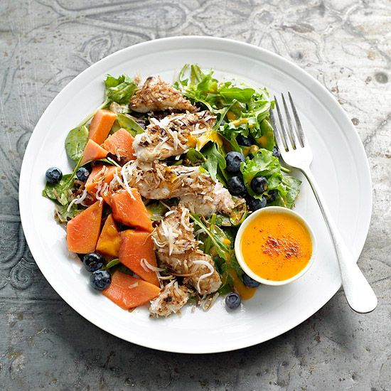 Yum! We'd love a bite of this Papaya and Coconut Chicken Salad. More fast weeknight suppers: www.bhg.com/...