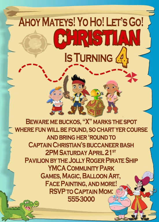 Jake and the Neverland Pirates Invitation & Tons by pixels4parties, $5.75
