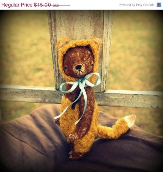 PDF Epattern for 9 inch Handmade Artist Teddy Bear in Fox's pants and cap by Sasha Pokrass