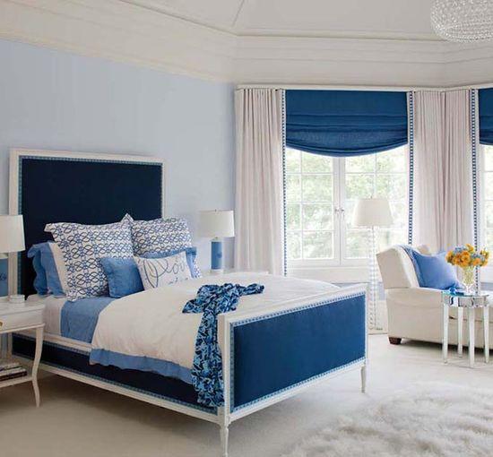 blue & white bedroom.