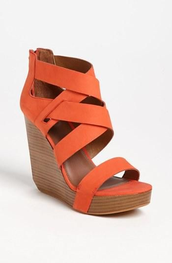 Loving coral sandals. Matiko Crisscross Wedge Sandal.