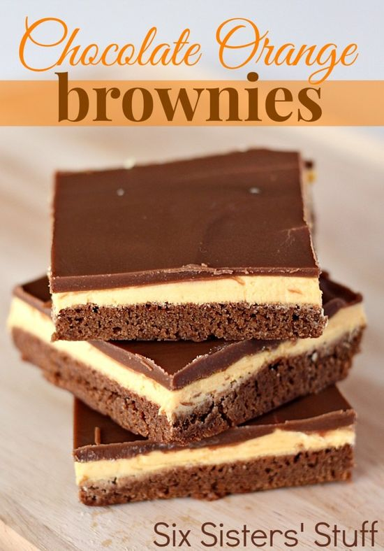 Cannot lie, I will be making these this week and at Thanksgiving! OMG, my favorite combination in a brownie!  Chocolate Orange Brownies from SixSistersStuff.com. Seriously melt in your mouth! #brownies #dessert