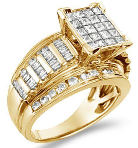 14k Yellow Gold Diamond Huge Engagement Wedding Emerald Shape Center Solitaire