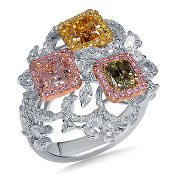 DETAILS HERE:Multi Color Fancy Diamond Halo With Marquise  Pear Diamonds Accent in 18K Three Tone