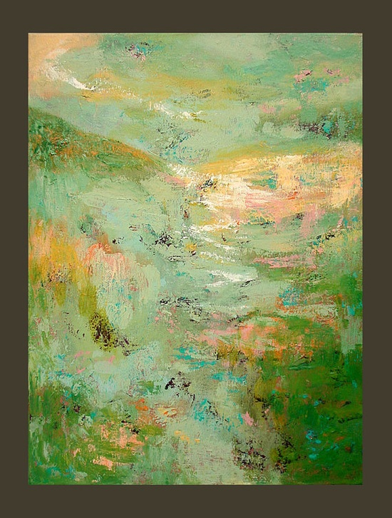 Original Abstract Textured Landscape Painting by LindaSuzStudios, $119.00