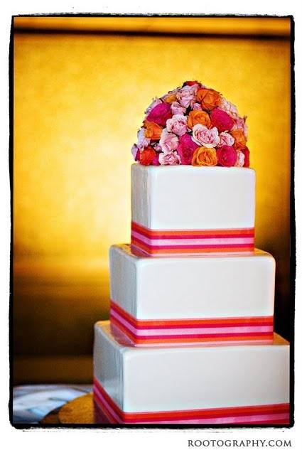 Pink and Orange wedding cake