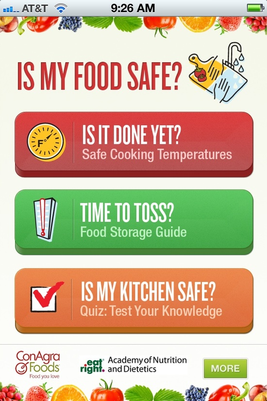 """Neat! """"The kitchen companion you've always needed is finally here. The FREE app, Is My Food Safe? tells you the correct cooking temperature for your meat dishes and lets you know when it's time to throw away those leftovers. Download today! www.homefoodsafet...;"""