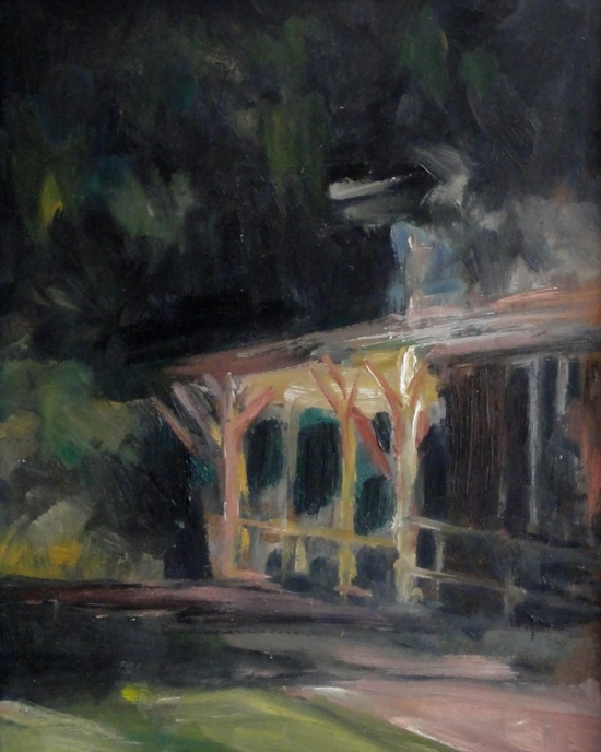 Impressionist nocturne framed oil painting landscape night painting 8 x 10 - Back of the Lawn. $325.00, via Etsy.