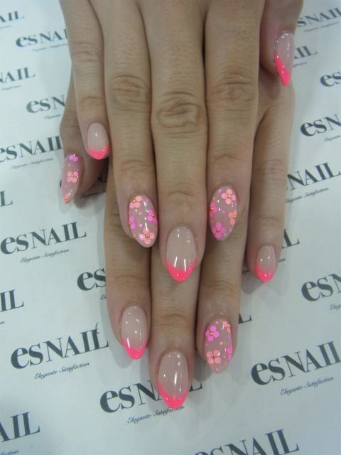 Nude and pink floral nails
