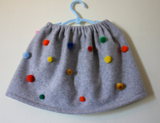 Pompom fleece skirt by madeinmommy on Etsy, $35.00