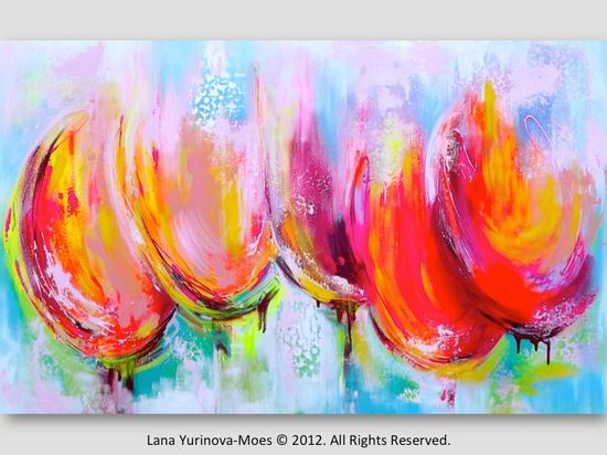 Large Original Abstract  Painting Tulips Pink, Orange, Teal Landscape Modern Texture on Canvas. $355.00, via Etsy.