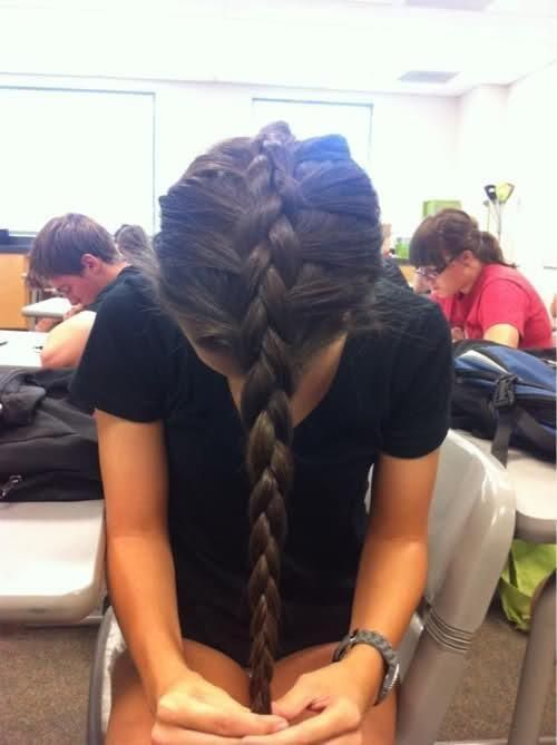 Upside down french braid- perfect for overnight waves