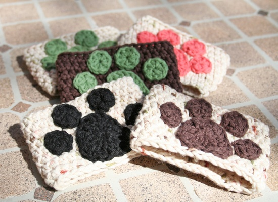 Crochet Cotton Coffee Sleeves - Paw Print - Custom Order for Keep the Tail Wagging. $35.00, via Etsy.