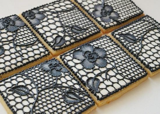 Black Lace Cookies - Set of 6 Orange Vanilla Spice Cookies. $42.00, via Etsy.