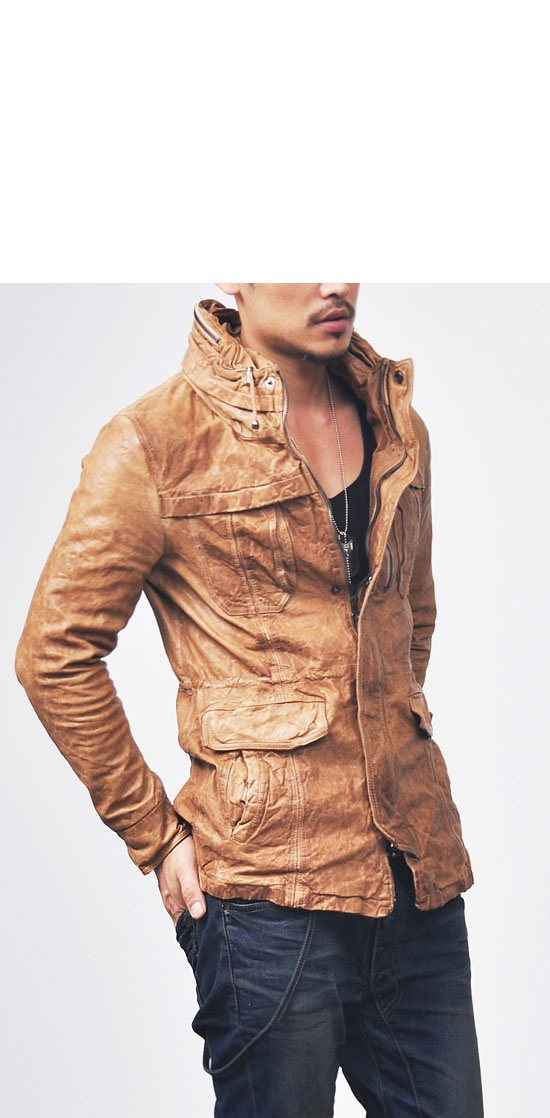Outerwear :: Leather Jackets :: Vegetable Lambskin High-neck Coat-Leather 31 - Mens Fashion Clothing For An Attractive Guy Look