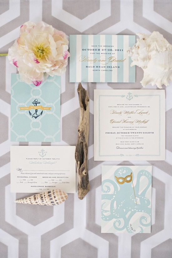 cute nautical invites,I don't plan on a wedding like this...but love the look