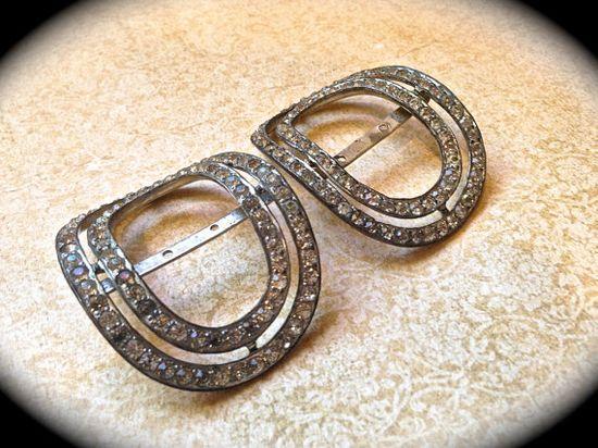 Vintage rhinestone shoe buckles by JNPVintageJewelry on Etsy, $110.00
