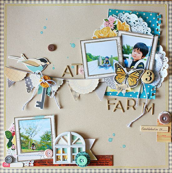 #papercraft #scrapbook #layout #Disney At a Farm #scrapbook #layout #paper #photo #vignettes