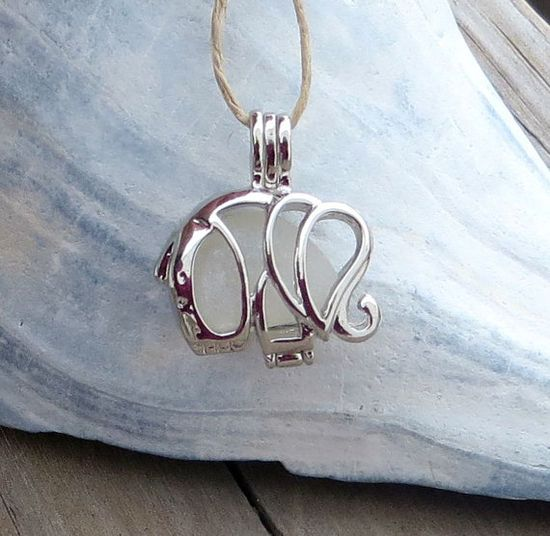 Sea Glass Elephant Necklace Locket WITH CHAIN by WaveofLife, $18.00