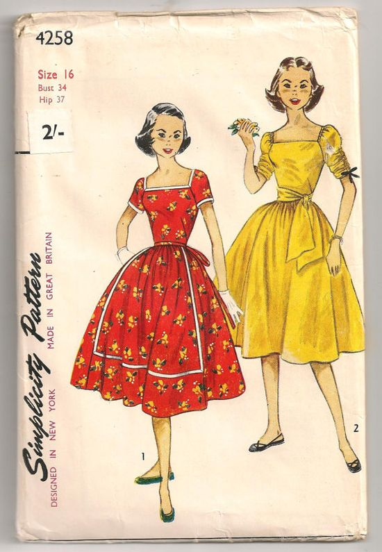 A charming 1950s Simplicity pattern for two lovely short sleeved summer dresses.