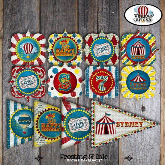 Carnival Party - Circus Party - Complete Collection - Toppers, Bunting Banner, Favor Tags & More - Customized Printable (Vintage Inspired) $35