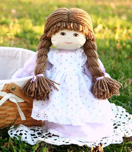 What a sweet handmade doll :) Cloth Doll 13inch Children's Old Fashioned by AsLiliesCountryStore, $36.00