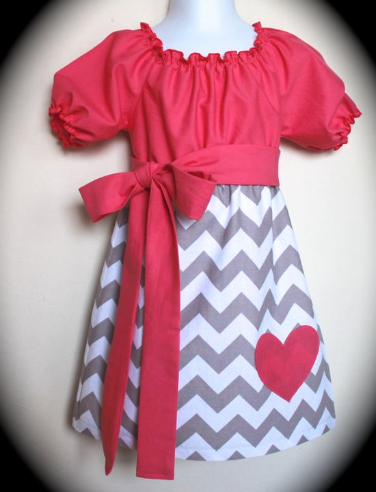 Valentines Grey Chevron and Bright Pink Peasant by AllAboutTheGlam, $30.00