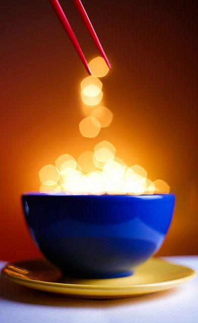 bowl of golden bokeh