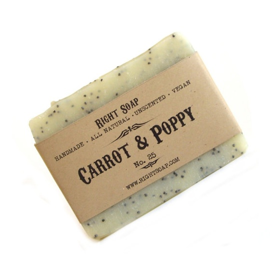 Natural soap  Carrot and Poppy  Scrub Soap  Vegan by RightSoap, +dreadstop @DreadStop
