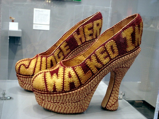 """Tolerance"" by Jan Hopkins The shoes read ""Judge her when you have walked in her shoes"" amazing piece made of cantaloupe and grapefruit skin."