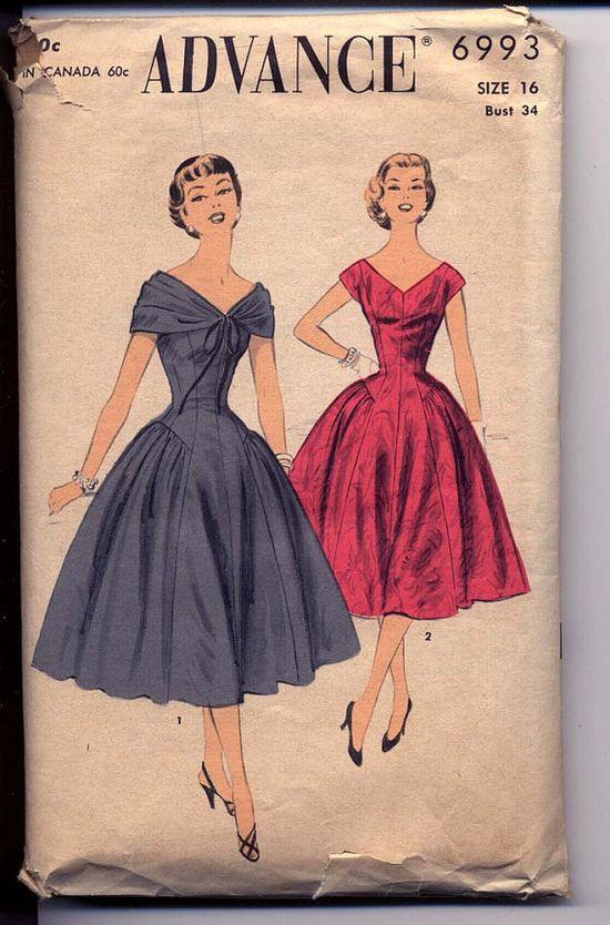 Advance 6993 (1950s) Princess-seam dress pattern