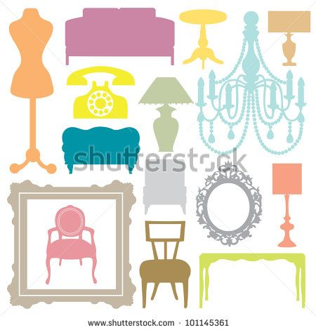 stock vector : Furniture Silhouettes