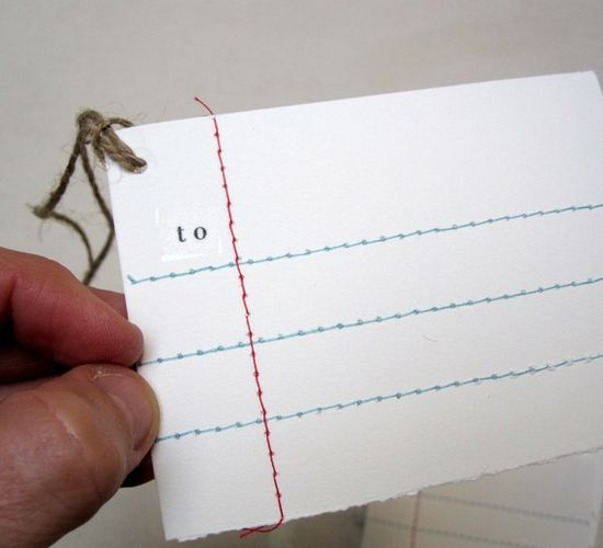 Embroidered lined paper gift tags. Incredible.