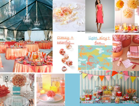 #coral & #yellow or #coral and #tiffany #blue wedding themes
